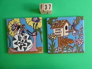 Details zu Keramik Kunst Kachel 15.2cmx15.2cm 2pc Set Garten Fairy  Vogelhaus Reiten A Snail