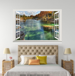 3D Green Clear River 0155 Open Windows WallPaper Murals Wall Print AJ Jenny