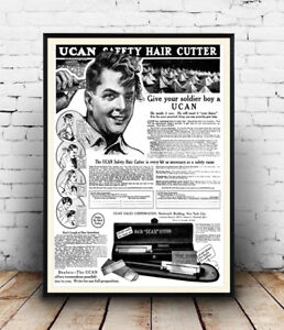 Ucan-safety-Cutter-Vintage-Hair-care-poster-Wall-art-poster-reproduction