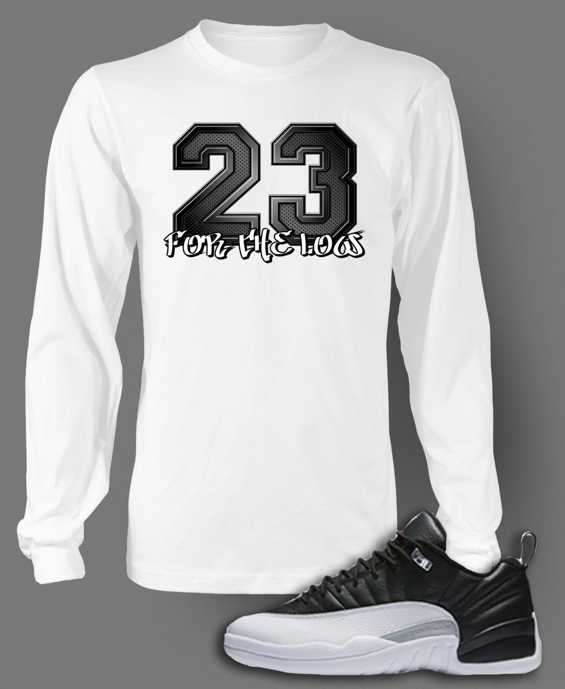 b16d38a1c4f4 T Shirt to Match AIR JORDAN 12 LOW PLAYOFFS shoes Pro Club Graphic White  Tee LS