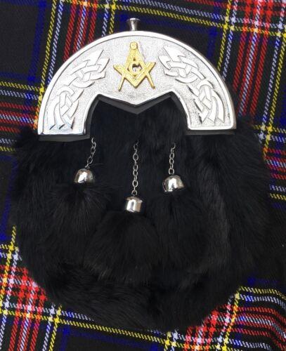 Men's Full Dress Kilt Sporrans Black Rabbit Fur Celtic Cantle With Masonic Badge