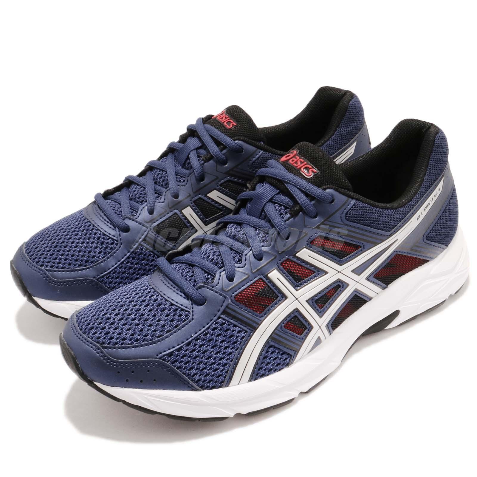 Asics Gel-Contend 4 Deep Ocean plata blanco Men Running zapatos zapatillas T715-N400