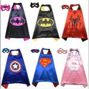 Image is loading kids-Superhero-Cape-Mask-Kids-Costume-Superman-Batman-  sc 1 st  eBay & kids Superhero Cape Mask Kids Costume Superman Batman Outfit ...