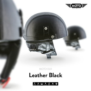 MOTO-D22-LEATHER-BLACK-CASQUE-DEMI-JET-VESPA-SCOOTER-RETRO-PILOT-S-M-L-XL-XXL
