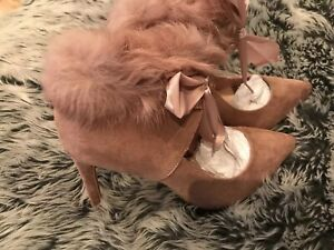 Pink-Faux-Suede-Faux-Fur-Collar-Ankle-Boots-Cut-Out-Lace-Up-Size-5-38-New-Box