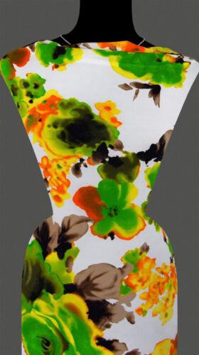 Blumen Blumenmuster weiß 50cm Stoff STRICKSTOFF elastisch 10,80 €//m