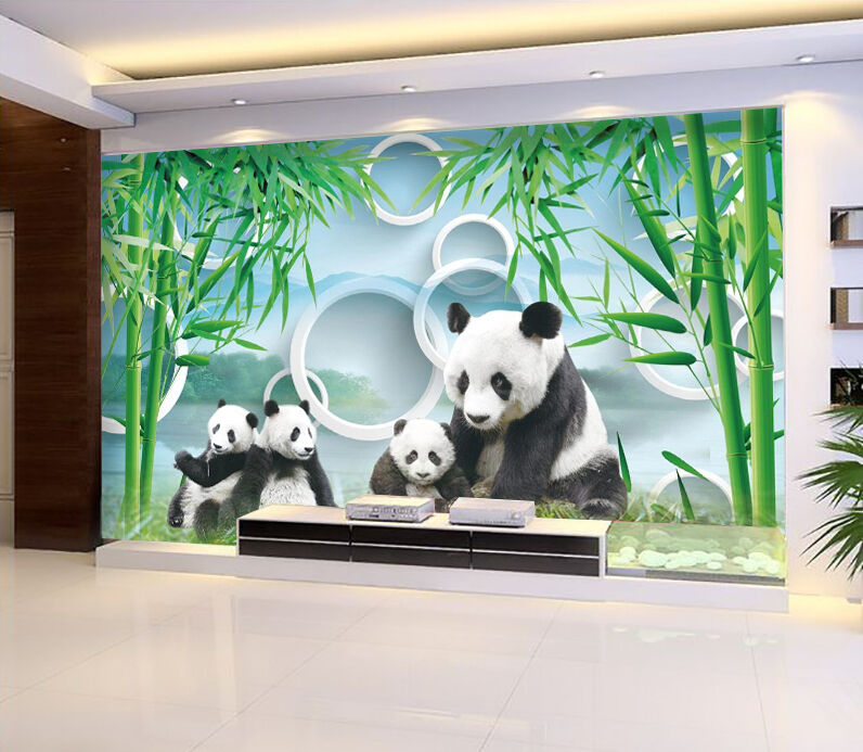 3D 3D 3D bamboo panda Wall Paper wall Print Decal Wall Deco Indoor wall Mural b22dac