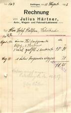 alte Rechnung, Dettingen (Horb) Julius Härtner, Lakiererei 1927 #E762