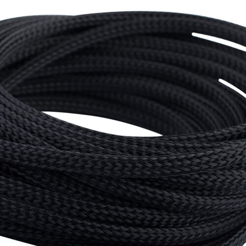 Black Braided Cable Sleeving//Sheathing Wire Harnessing Marine Size 1MM-50MM
