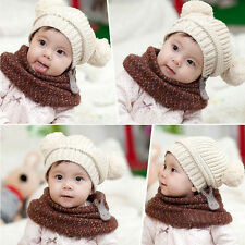 Cute Baby Kids Girl Boy Dual Balls Warm Winter Knitted Cap Hat Beanie 2016 New