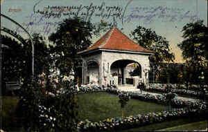 Erfurt-Thueringen-Color-Postkarte-1912-gelaufen-Gruenanlagen-im-Stadtpark-Pavillon