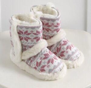BNWT The Little White Company Girls Fairisle Boot Slippers size 1/2