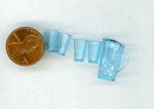 Miniature Dollhouse Chrysnbon Pitcher and 4 glasses / Light Blue