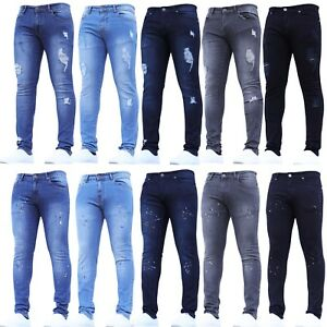 Mens-Ripped-Skinny-Jeans-Super-Stretch-Paint-Splatter-Blue-Black