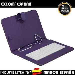 Funda-con-Teclado-en-Espanol-para-Tablet-Pc-10-034-CoverPAD-Morada-Marca-Espana