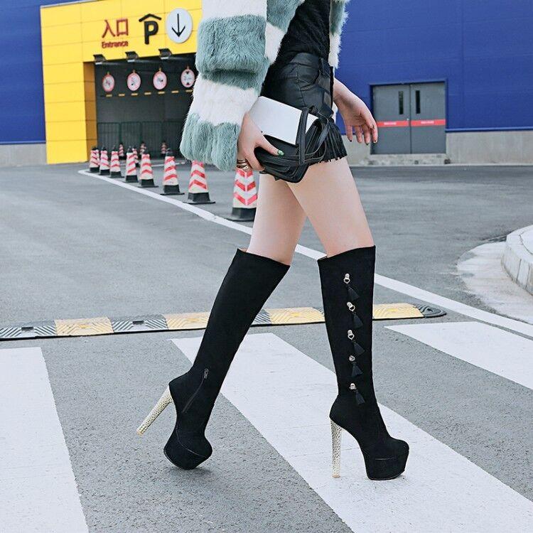 Womens Ladies Zip High Heels Platform Over Knee Suede Ankle Boots Big shoes UK