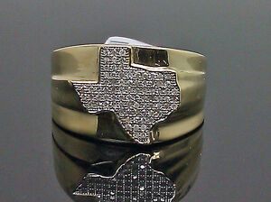 Details about Real 10K Men's Yellow Gold Texas Map Diamond Ring with Real  0 25CT Diamond, Band