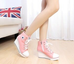 Women-8cm-Wedge-Heel-Canvas-High-Top-Sneakers-Ankle-Boots-Korean-Style-Shoes-S4