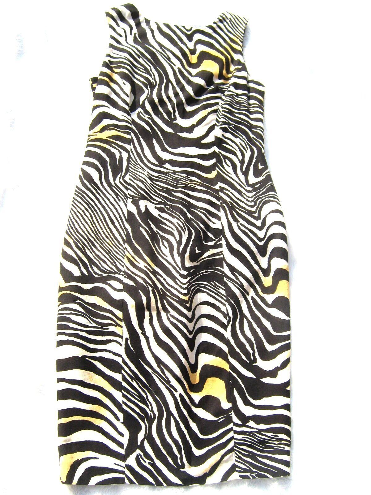 Beige Cream Black white Linen Zebra Stripe Tailored fitted midi dress Cruise M