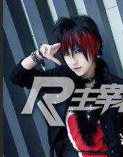 Punk Gothic Short Black mix Red Bob Boy Man Custome Cosplay Wig + FREE net