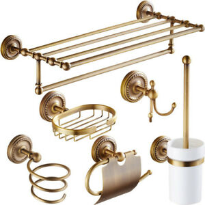 Bathroom Hardware Set Antique Brass 6-Pieces Set Bath Accessorys Rack Holder