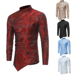 Hombre-Brocado-motivo-Cachemira-irregular-dobladillo-Camisas-Informal-Ajustado