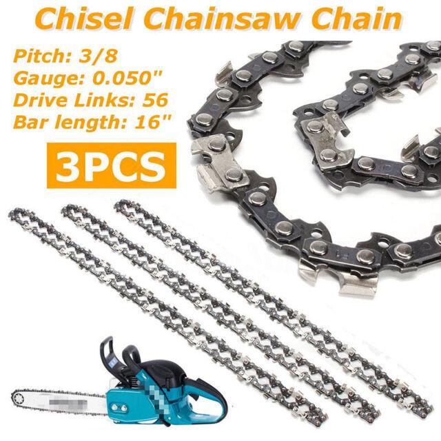 "3x 16/'/' Bar Chainsaw Chain Semi Chisel 3//8LP .050/"" 56DL For Makita DC UC NB"