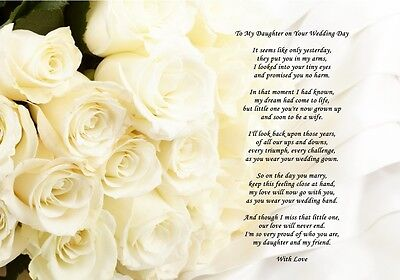 A4 Poem From Mum to Daughter on Her Wedding Day - Can Also Be Personalised Gift
