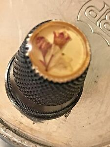 Rare White Silver Metal Thimble With Pressed Flowers Behind Glass Thimble Top