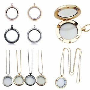 New 30mm Round Living Memory Floating Charms Glass Locket Pendant Necklace Gifts