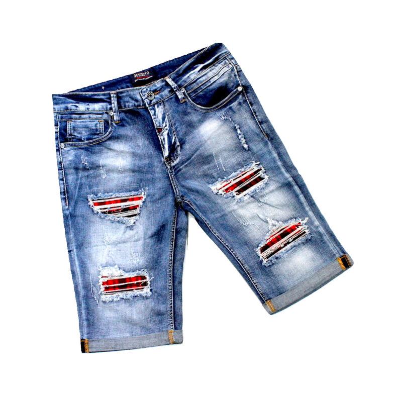 Pinocchietto Uomo Jeans Pantaloncino Bermuda Pantalone Blu 48 50 52 54 56 58 60