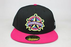 Texas Rangers Black   Pink   Yellow Outline Gray New Era 59Fifty ... a735d961f48