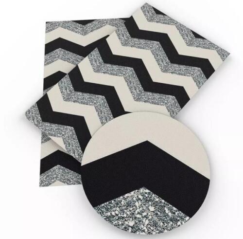 Black faux glitter PRINT chevron faux leather sheet vinyl fabric full-1//2 sheet