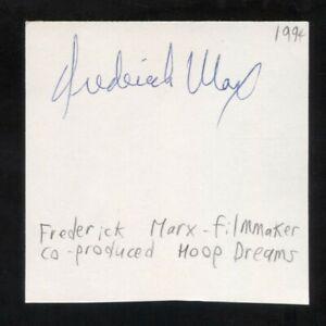 Frederick Marx Signed Cut 3x5 Index Card Autographed Signature Hoop Dreams