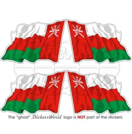 """Autocollants x4 Oman omanais battant pavillon 50 mm 2/"""""""