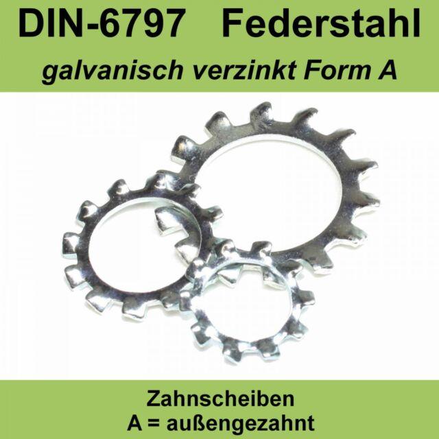 M12 13,0 DIN 6797 Zahnscheiben verzinkte Form A außengezahnte AZ Federstahl f