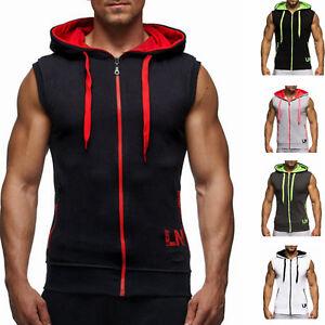 Hombres-Camisa-Chaleco-Sin-Mangas-Cremallera-con-Capucha-Musculo-Gimnasio-Camiseta-sin-mangas