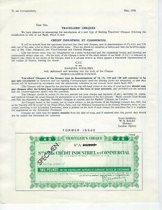 FRANCE-SPECIMEN-TRAVELERS-CHECKS-SET-1958-CREDIT-INDUSTRIEL-COMMERCIAL