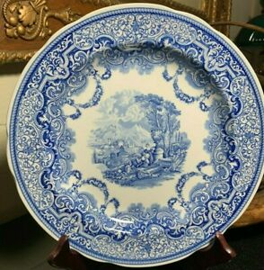 """Spode Blue Room Continental Views 10 1/2"""" Dinner Plate Made in England  Pristine"""