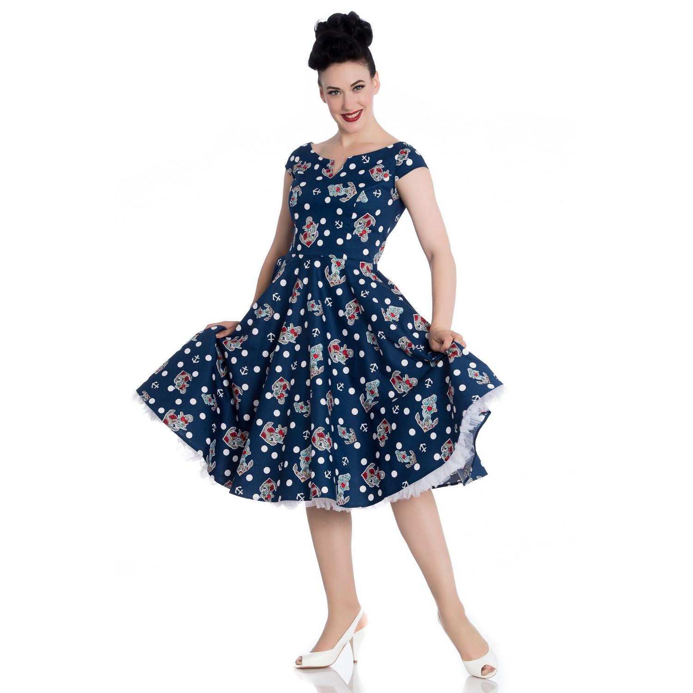 Hell Bunny Salina Marineblau Seemanns 1950er Jahre Retro Swing Urlaubs Kleid