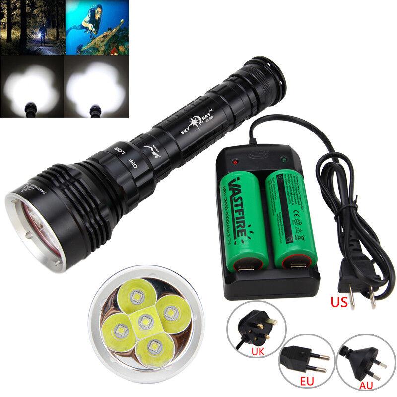Diving 15000Lm 5x XM-L2 LED Waterproof SCUBA Flashlight Torch 18650 26650 Light