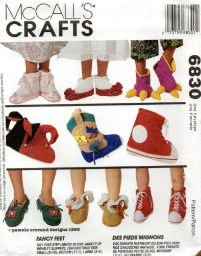 1993 Children/'s Novelty Slippers Sewing Pattern McCall/'s 6830 New OOP