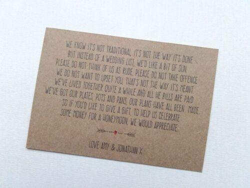 50 Wedding Money Poem Cards Honeymoon wish cash gift Vintage shabby chic 5 Poems