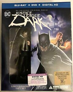 NEW DC JUSTICE LEAGUE DARK BLU RAY DVD + DIGITAL HD SLIPCOVER DELUXE + FIGURINE