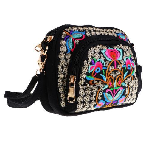 Retro Women Embroidery Bag National Shoulder Bag Tote Travel Handbag 19x14cm