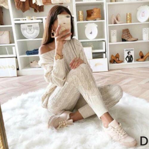 Hosen Strickanzug satz Pullover Top Baumwolle Trainingsanzug Frauen 2 teile