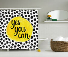 """Inspirational Yellow Black White Polka Dot """"Yes You Can"""" Fabric Shower Curtain"""