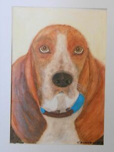 Basset Hound Dog animal portrait amp realism in acrylic on WC HQ paper - <span itemprop='availableAtOrFrom'>Alcester, United Kingdom</span> - Basset Hound Dog animal portrait amp realism in acrylic on WC HQ paper - Alcester, United Kingdom