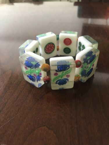 VINTAGE MAHJONG PLASTIC 7 TILE Colorful Reversible