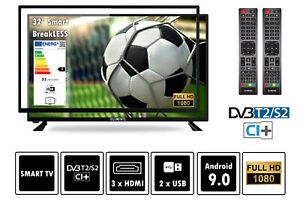 "Elements Fernseher LED Android Smart TV 32"" Zoll Full HD DVB-T2/S2, bruchfest"